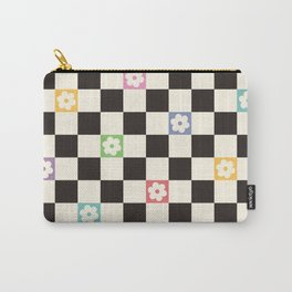 Colorful Flowers Black&White Checker Carry-All Pouch