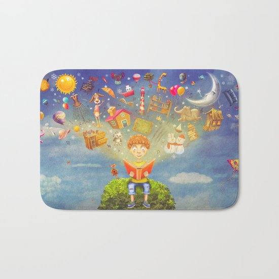 Little boy sitting on the tree and  reading a book, objects flying out Bath Mat