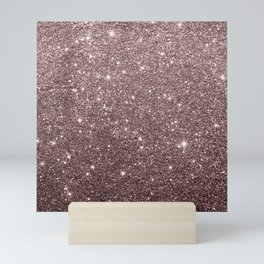 Modern mauve burgundy rose gold glitter Mini Art Print