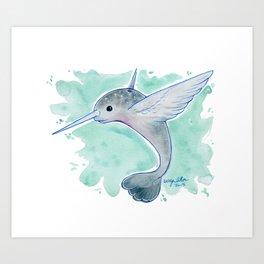 Narwhal Hummingbird Art Print