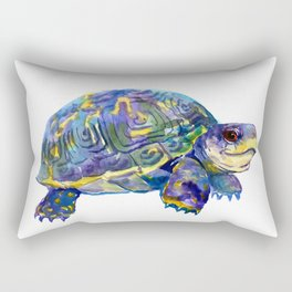 Turtle children artwork illustration blue purple teal animal art Rectangular Pillow