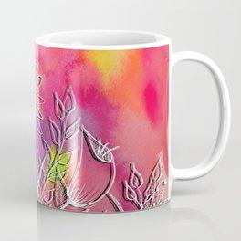 Neon Wildflowers Watercolor and Digital Botanical Line Drawing Art Coffee Mug