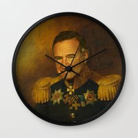 robin williams Wall Clocks featuring Robin Williams - replaceface by replaceface
