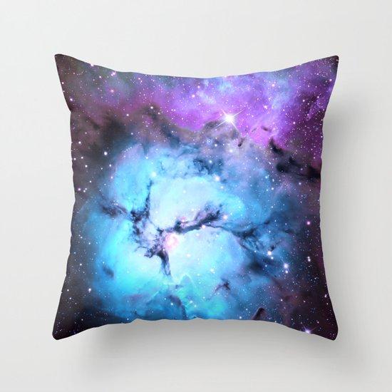 Blue Floral Nebula Throw Pillow