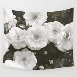 Floral in Black and White Wall Tapestry