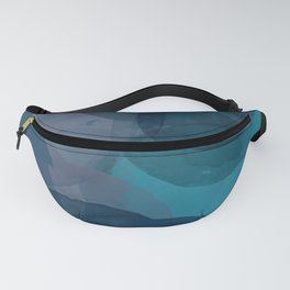 Abstract Watercolor Circles in Ombre Blue Fanny Pack