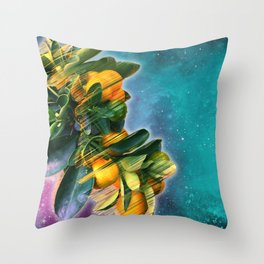 Small fruit tree in outer space Throw Pillow