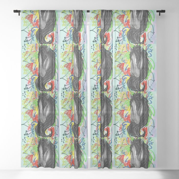 Fancy Pony Pattern Sheer Curtain By Courtneymm