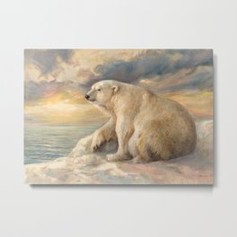 Polar Bear Rests On The Ice - Arctic Alaska Metal Print
