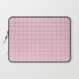Cameo pink - pink color - White Lines Grid Pattern Laptop Sleeve