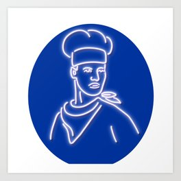 Chef Looking to Side Glowing Neon Sign Art Print