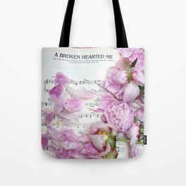 Shabby Chic Cottage Peonies On Sheet Music - Inspirational Peonies Print Tote Bag