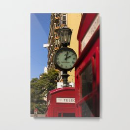 Phone booths and clock Metal Print