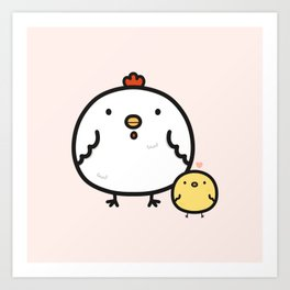 Cute chick and chicken Art Print