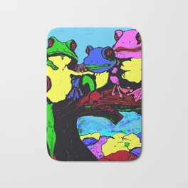 FROG FAMILY HANGING OUT ON A LIMB Bath Mat