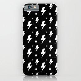 Lightning Bolt Pattern (white/black) iPhone Case