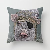 pig Throw Pillows featuring PIG by Barbara Graetzer