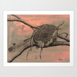 Empty Nest Ink Drawing Art Print