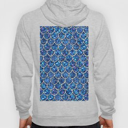 Sparkly Blue & Silver Glitter Mermaid Scales Hoody