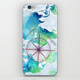 Watercolor map iPhone Skin