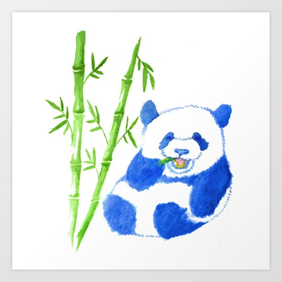 Panda eating bamboo Watercolor Print Art Print