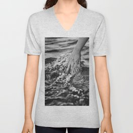 Running hand through the water, under the blue again black and white photograph / art photography Unisex V-Neck