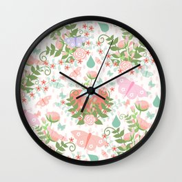 Pastel coral pink green butterfly floral polka dots Wall Clock