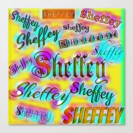 Sheffey Fonts - Yellow and Pink Rainbow 9642 Canvas Print