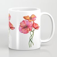 peach Mugs featuring Peach & Pink Poppy Tangle by micklyn