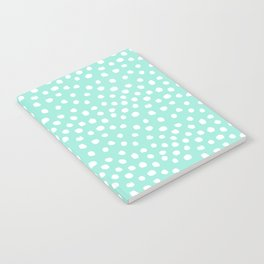 Preppy mint  dots polka dots abstract minimal white brushstroke dot pattern print painting  Notebook