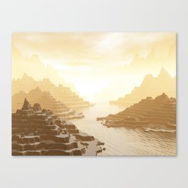 Misted Mountain River Passage Canvas Print