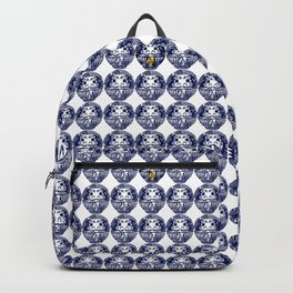 Daruma Dolls in Navy Blue with line doodles Backpack