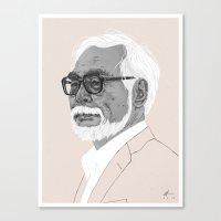 hayao miyazaki Canvas Prints featuring Hayao Miyazaki by Andy Christofi