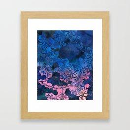 Japanese Stencil Pattern #1 | Floral Watercolor Design in Blue Pink Framed Art Print