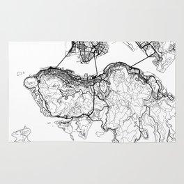 Hong Kong Map White Rug
