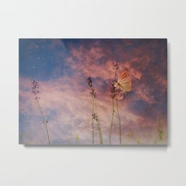 Peach and Yellow Butterfly on Lavender at Indigo Blue Starry Twilight Metal Print