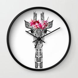 FLOWER GIRL GIRAFFE Wall Clock