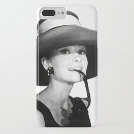Audrey Hepburn Portrait, Black and White Vintage  iPhone Case
