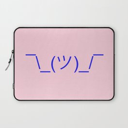Hands Up Emoji Shrug - Pink and Blue Laptop Sleeve