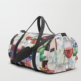 Watercolor wine glasses and bottles decorated with delicious food Duffle Bag