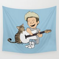 niall Wall Tapestries featuring Schulz Niall And Guitar by Ashley R. Guillory