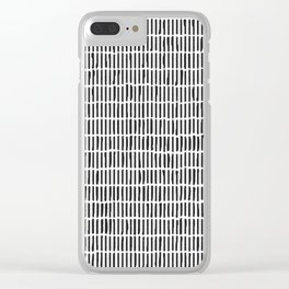 Black & White Hand Drawn Stick Pattern Clear iPhone Case