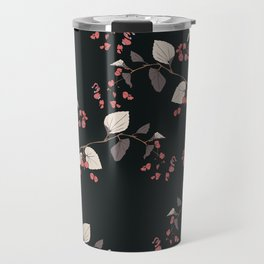 Branches of begonia with flowers and leaves on a black background. Vector seamless pattern. Travel Mug