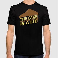 The Cake Is A Lie (Blue Version) Mens Fitted Tee Black MEDIUM