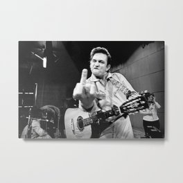 Johnny Cash Flipping the Bird Premium Paper Poster Metal Print