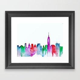 NYC Skyline Jewel Tones Watercolor Framed Art Print