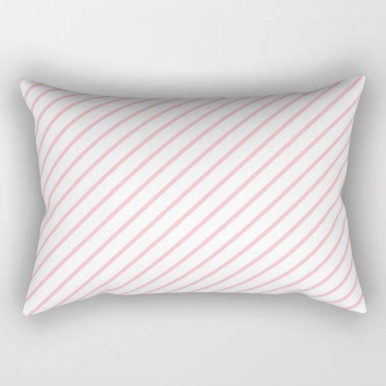 Diagonal Lines (Pink/White) Rectangular Pillow