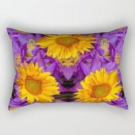 YELLOW SUNFLOWERS AMETHYST FLORALS Rectangular Pillow