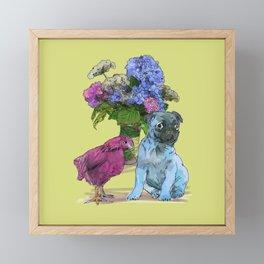Pug, Chicken, and Hydrangeas Framed Mini Art Print