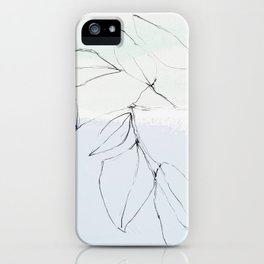 leaves on pastel blue & mint iPhone Case